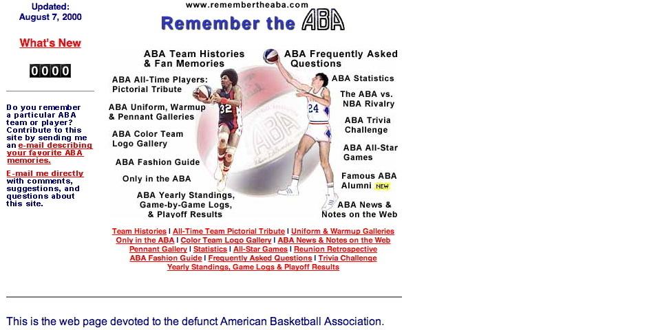 Webby Award Nominee - Remember the ABA
