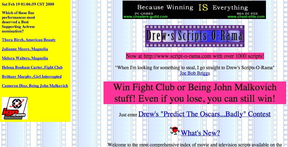 Webby Award Nominee - Drew\'s Scripts-O-Rama
