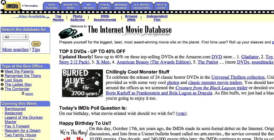 2000 Webby Winner - Internet Movie Database