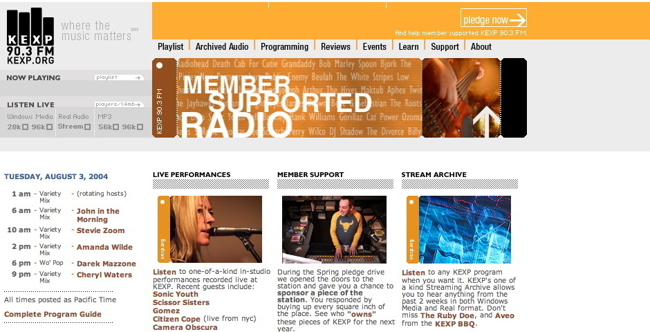 2004 Webby Winner - KEXP Radio Online