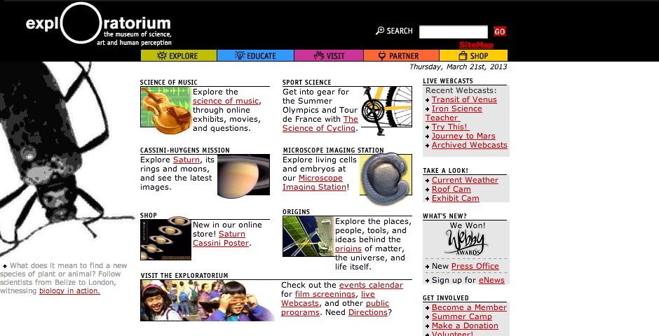 2004 Webby Winner - Exploratorium