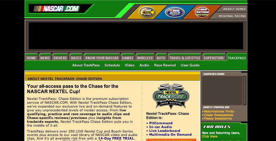 Webby Award Nominee - NASCAR.COM\'s TrackPass with PitCommand