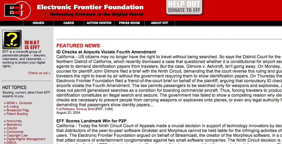Webby Award Nominee - Electronic Frontier Foundation