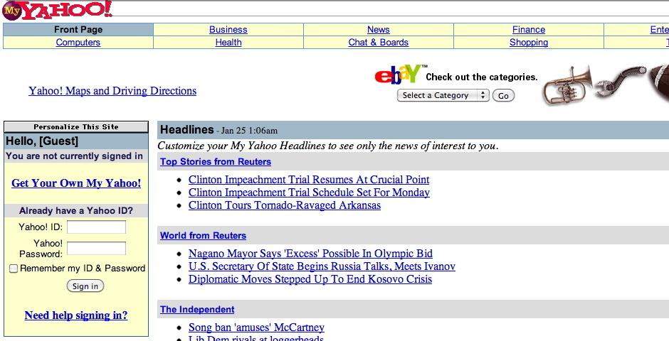 1999 Webby Winner - My Yahoo!