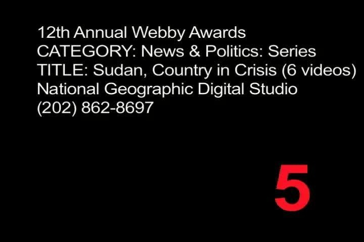 Webby Award Nominee - Sudan, Country in Crisis