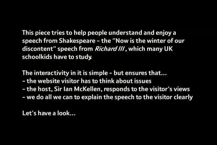 Webby Award Nominee - A Conversation with Sir Ian