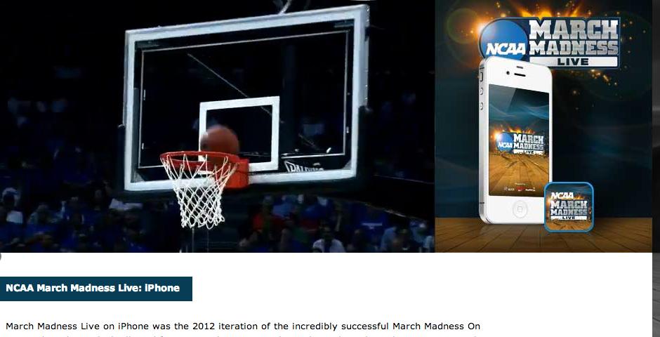 Webby Award Nominee - NCAA March Madness Live
