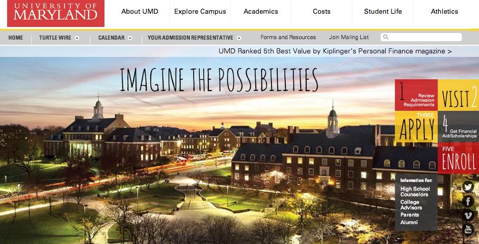 Nominee - University of Maryland Undergraduate Admissions Website