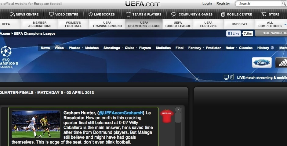 Webby Award Nominee - UEFA Champions League official website