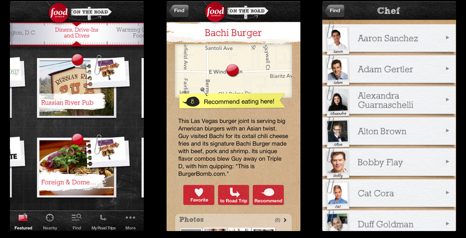 "Webby Award Winner - Food Network ""On the Road"" App"