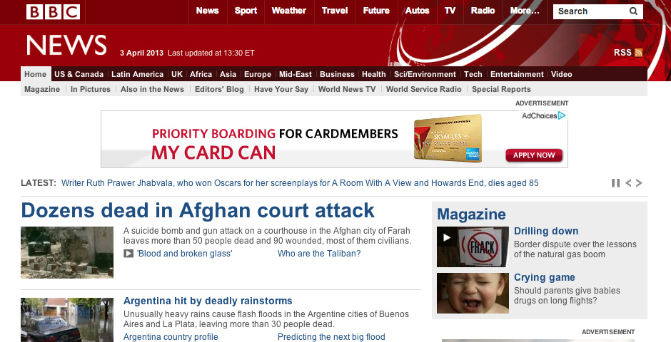 Webby Award Nominee - BBC News website
