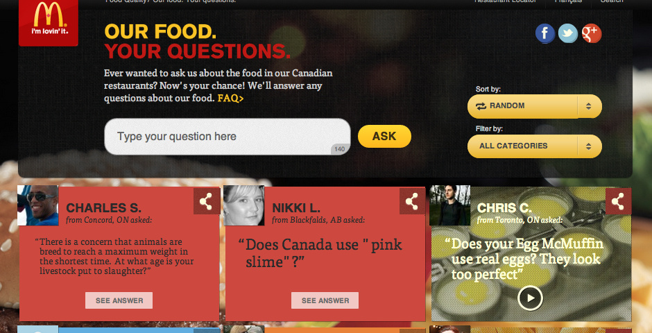 2013 Webby Winner - Our Food. Your Questions.