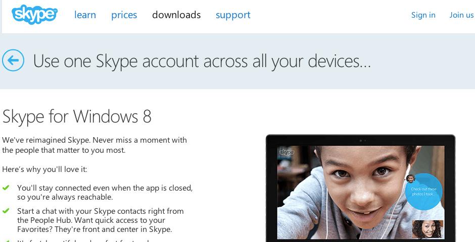 2013 Webby Winner - Skype for Windows 8