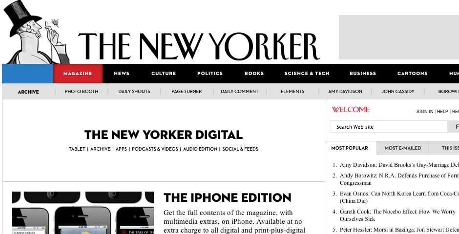 Webby Award Nominee - The New Yorker - Tablet App