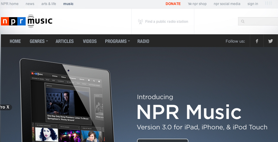 Webby Award Nominee - NPR Music for iPad