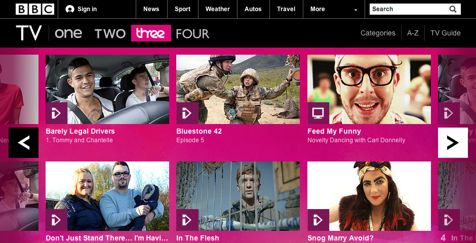 Webby Award Nominee - BBC TV Channel Site: BBC Three