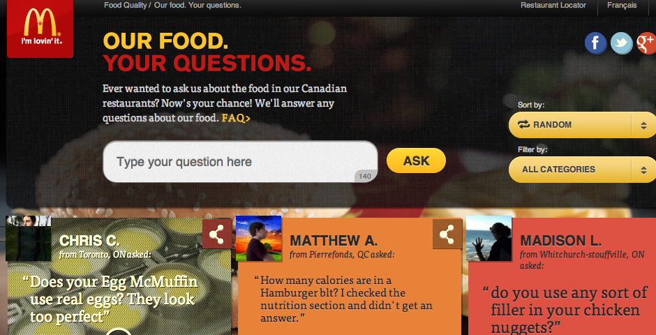 Webby Award Nominee - Our Food. Your Questions.