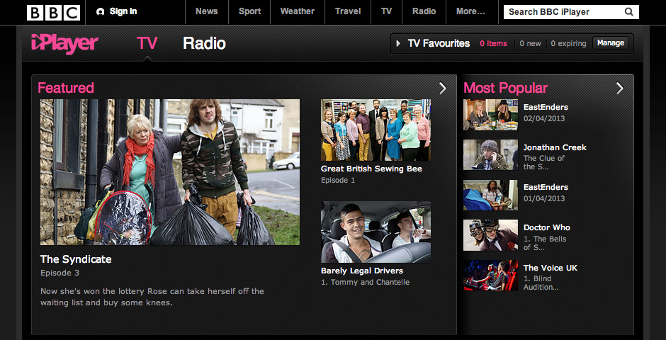 Webby Award Nominee - BBC iPlayer