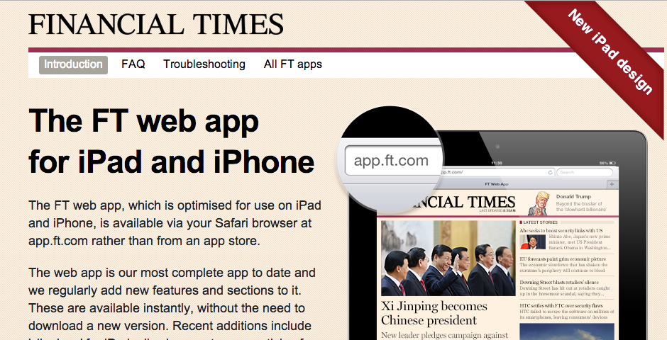 Nominee - Financial Times web app