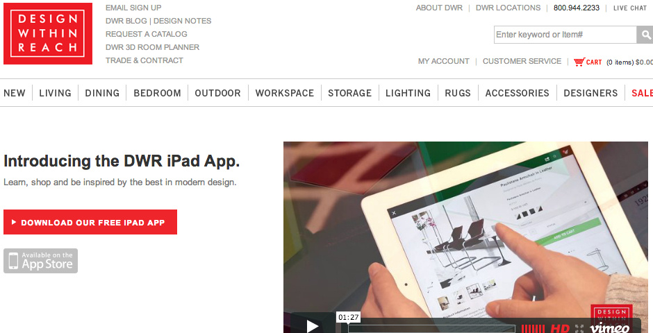 Webby Award Nominee - Design Within Reach iPad App