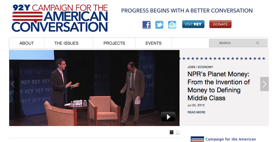 Nominee - 92Y Campaign for the American Conversation Website