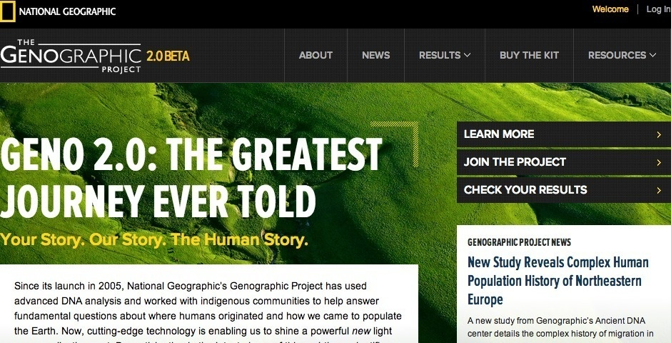 Webby Award Nominee - National Geographic\'s Genographic Project: Geno 2.0