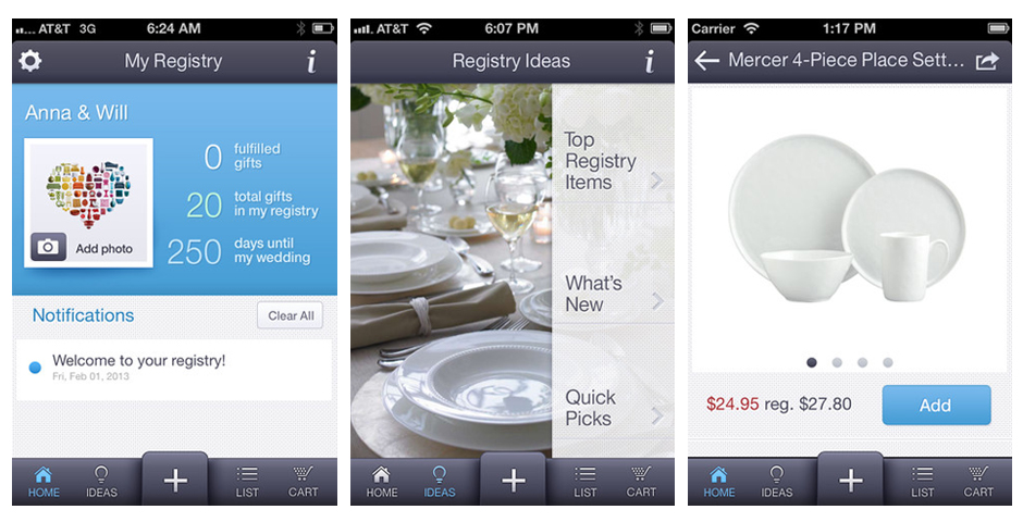 Nominee - Crate & Barrel Wedding & Gift Registry App