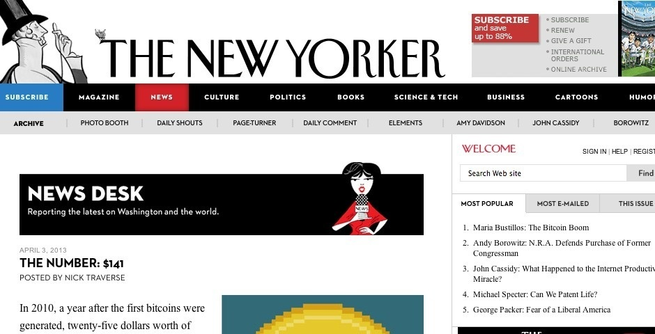 Webby Award Nominee - The New Yorker\'s News Desk blog