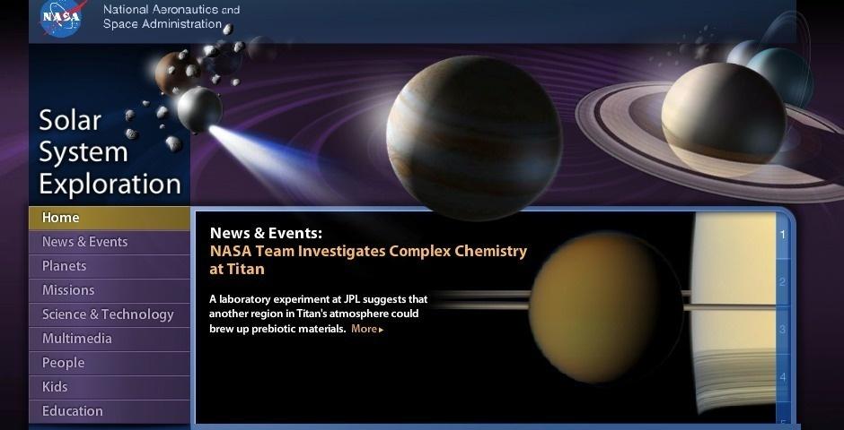 2013 Webby Winner - NASA Solar System Exploration