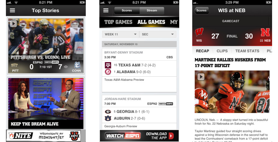ESPN College Football App -- The Webby Awards