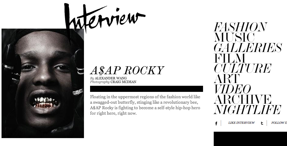 Webby Award Nominee - Interview Magazine