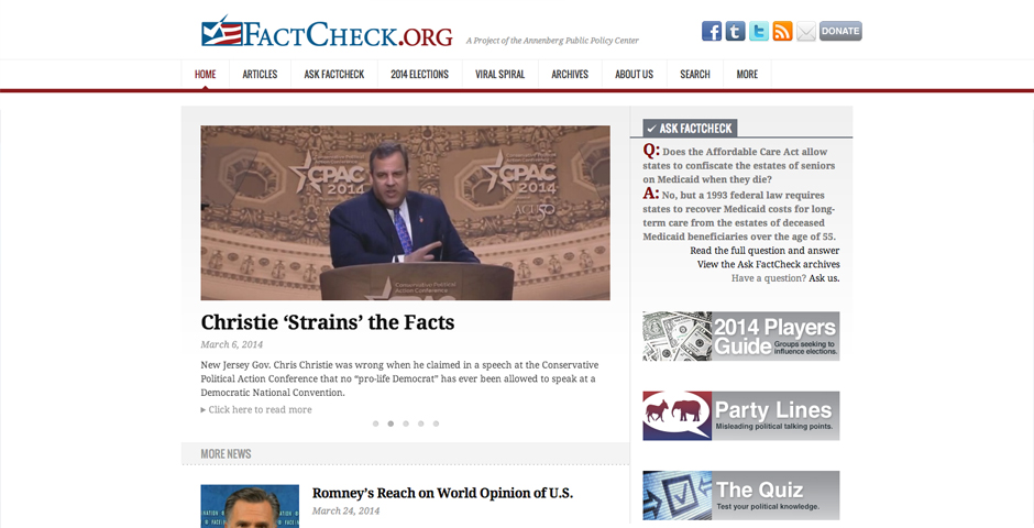 People's Voice / Webby Award Winner - FactCheck.org