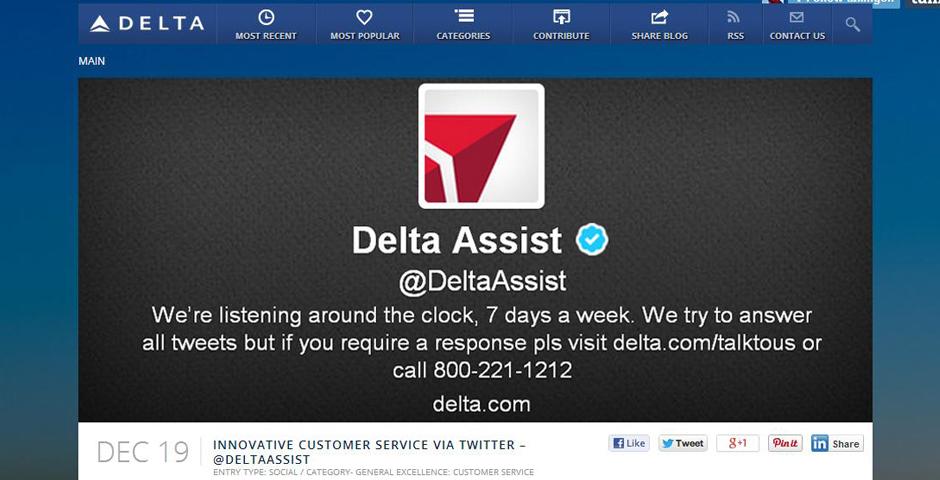Nominee - Innovative Customer Service via Twitter – @DeltaAssist