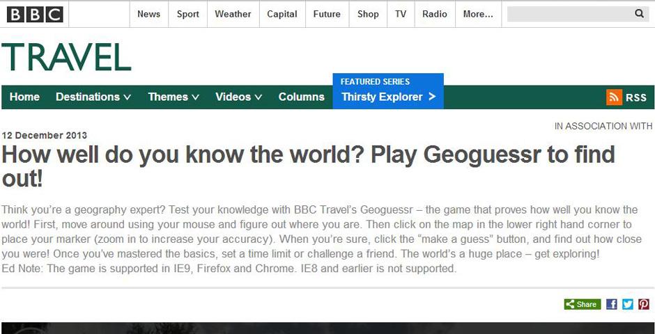 Webby Award Nominee - BBC Travel\'s Geoguessr