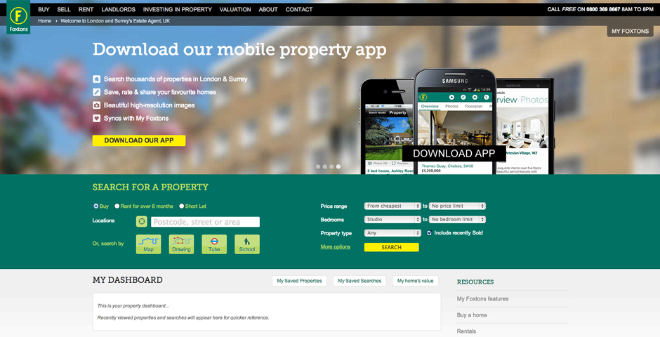 Nominee - Foxtons – A Modern Real Estate Website