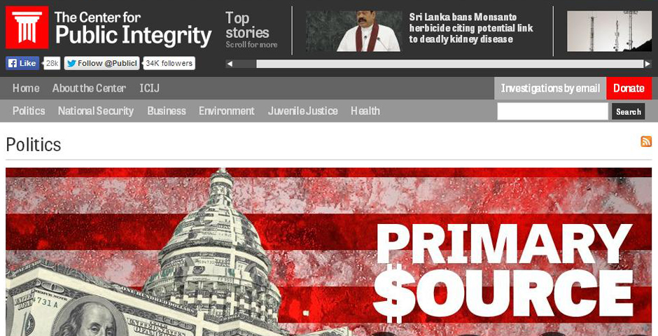 Nominee - Center for Public Integrity: Primary Source