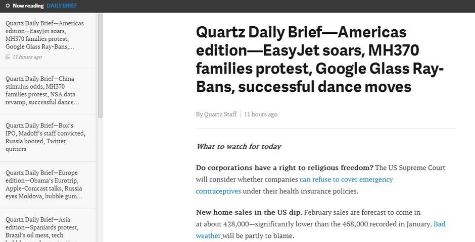 Nominee - Quartz Daily Brief