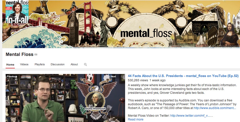 Webby Award Nominee - mental_floss video channel
