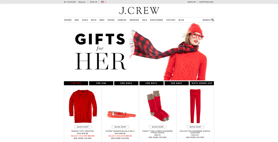 Webby Award Nominee - The J.Crew Holiday Gift Guide