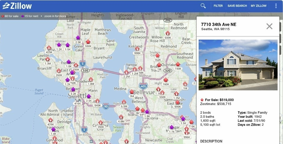 Webby Award Nominee - Zillow Real Estate App for iPad