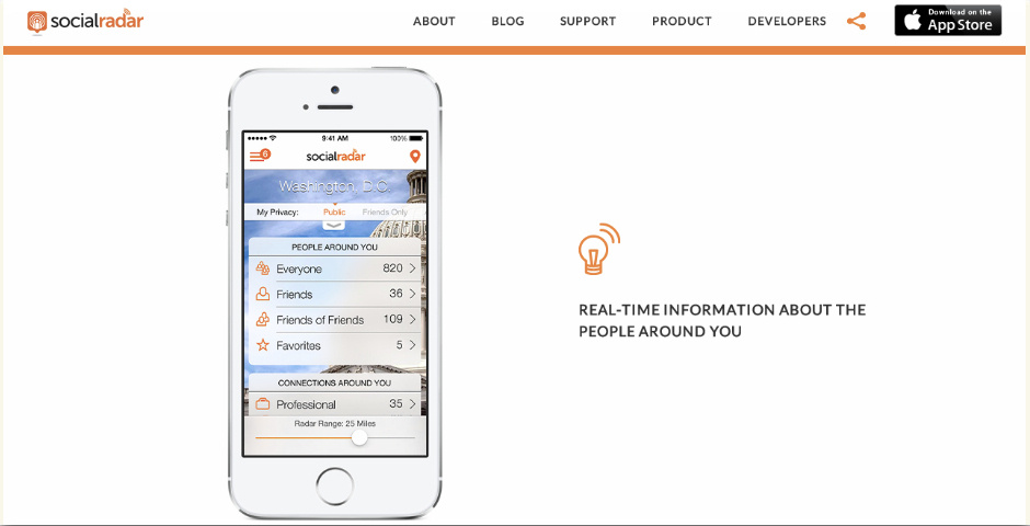 Webby Award Nominee - SocialRadar - Real-time Information on the People Around You