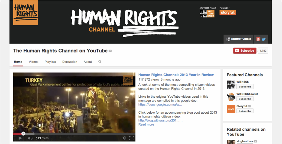 Nominee - The Human Rights Channel: Curated by WITNESS, Powered by Storyful, Hosted on YouTube