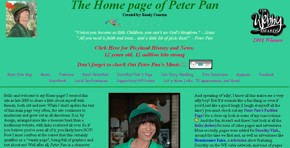People's Voice / Webby Award Winner - Peter Pan's Home Page