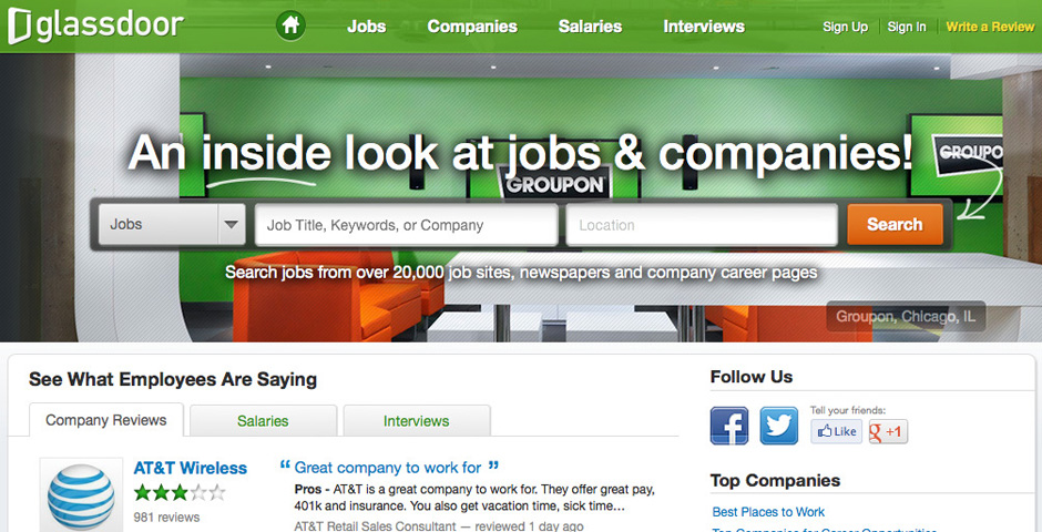 Honoree - Glassdoor – an inside look at jobs and companies