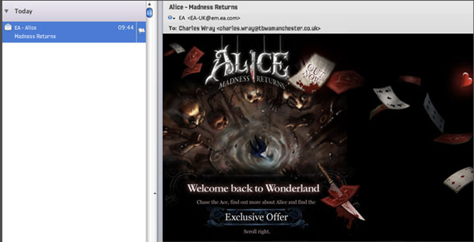 People's Voice - Alice: Madness Returns Launch Email