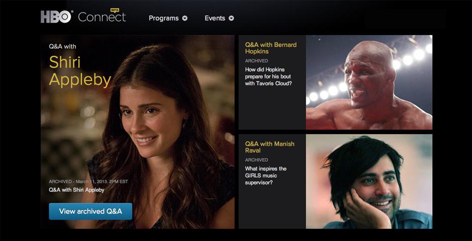 2012 Webby Winner - HBO Connect