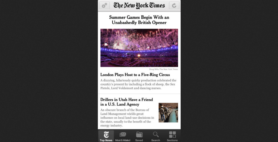 Webby Award Nominee - NYTimes for iPhone