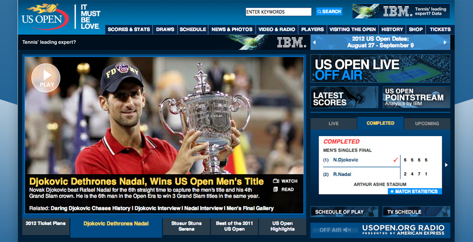 Webby Award Nominee - The Official Website of the 2011 US Open