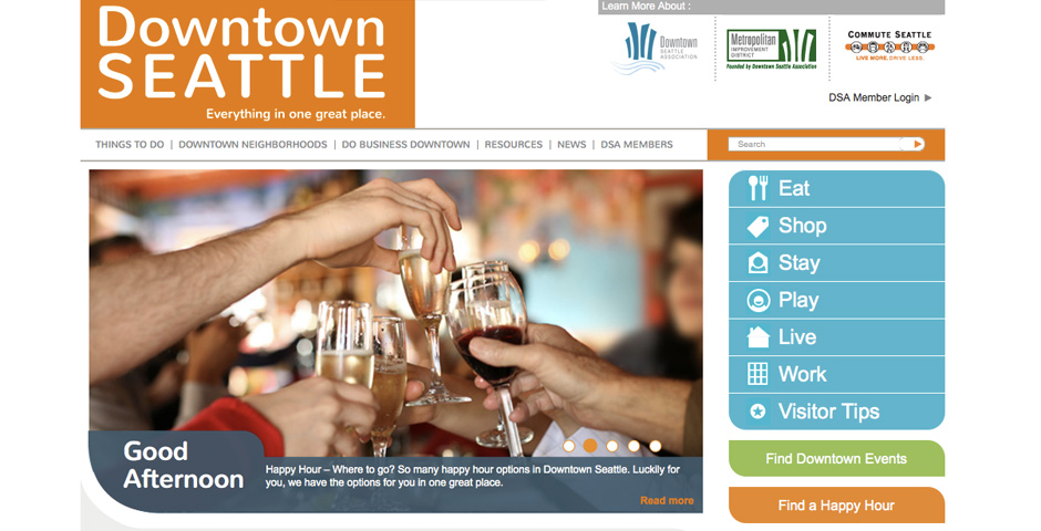 Webby Award Winner - Downtown Seattle Association Website