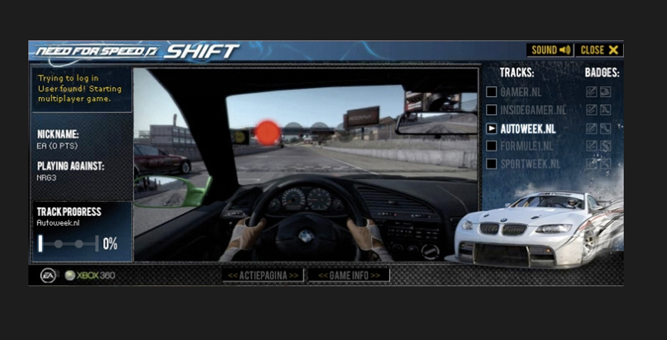 Webby Award Nominee - Need for Speed SHIFT Banner Tournament